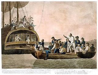 Οι στασιαστές αφήνουν μεσοπέλαγα τον Μπλάι και τους πιστούς σ' αυτόν ναύτες. Πίνακας του Ρόμπερτ Ντοντ.
