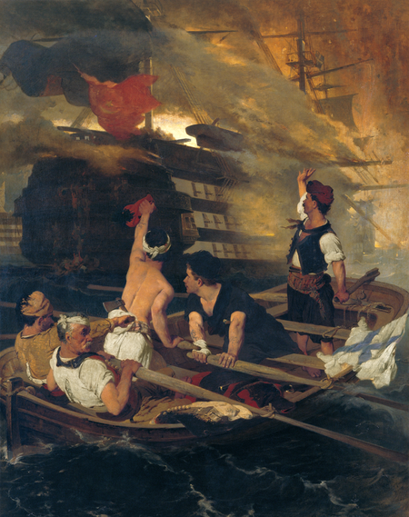 the burning of the turkish flagship by kanaris